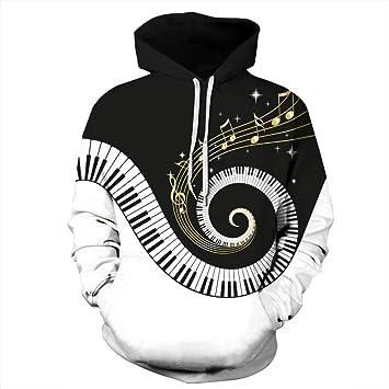 YZFZYLW Sudaderas Impresas En 3D Teclas De Piano Creativas Patrón De Notas Musicales Otoño Invierno Manga Larga Unisex Pareja Sudaderas con Capucha, ...