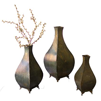 Amazon Set Of Three Metal Aged Brass Vases Home Improvement