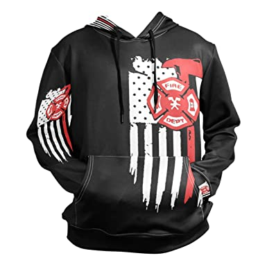 7098c7497b54 Amazon.com: notebepisse Firefighter American Flag Mens 3D Print Fashion  Hoodies Pullover Athletic Hooded Sweatshirt with Pocket: Clothing