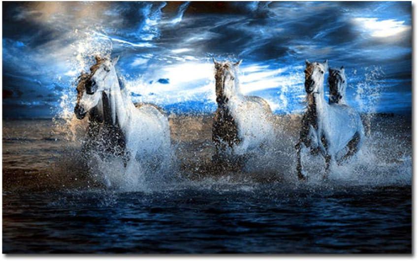 mmzki Pintura al óleo Carteles Cinco Caballos Corriendo Lienzo Pintura Arte de la Pared Imagen Animales Salvajes Imágenes para la decoración de la Sala de Estar Sin Marco-No_Frame_60x100_cm_XQ-389