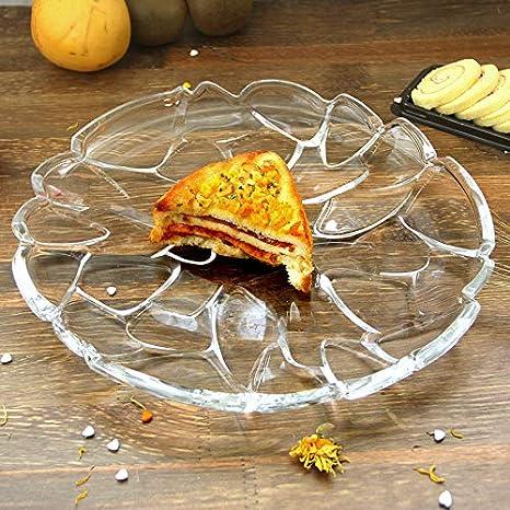 XZFDDN Placa De Fruta Guijarrosa De Cristal Bandeja De Ensalada De Placa De Fruta Transparente De Fondo Plano para Sala De Estar De Cocina: Amazon.es: Hogar