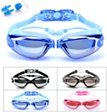 Swimming Goggles, Beeway® Swim Goggles attached Ear Plugs for Adult Men Women And Kids 8+ - No Leaking, Anti Fog, UV Protection - Free Storage Case, Nose Clip and Earplugs