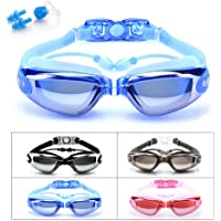 BEEWAY Swimming Goggles, Swim Goggles attached Ear Plugs for Adult Men Women And Kids 8+ - No Leaking, Anti Fog, UV Protection - Free Storage Case, Nose Clip and Earplugs