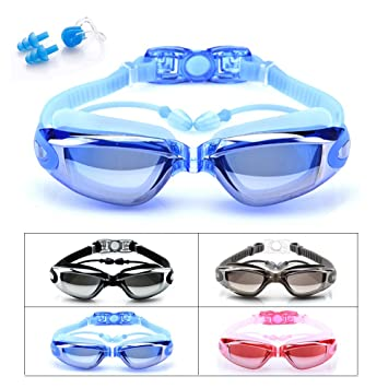 Boating & Watersports Anti Fog Attached Ear Plug Swimming Goggles for Men Women Youth Swim Goggles