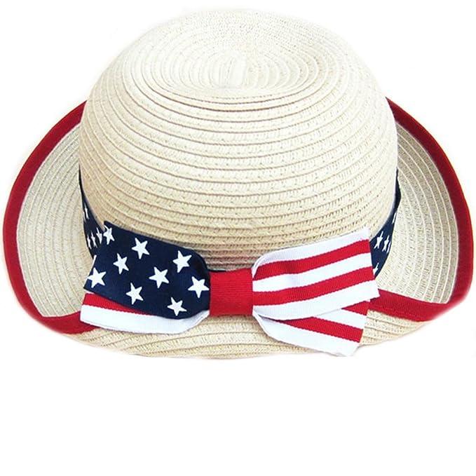 3fb55eb7c74 NANAMI Kids Summer Straw White Hat Beach Sun Protection American Flag Hats  For Girls Boys (