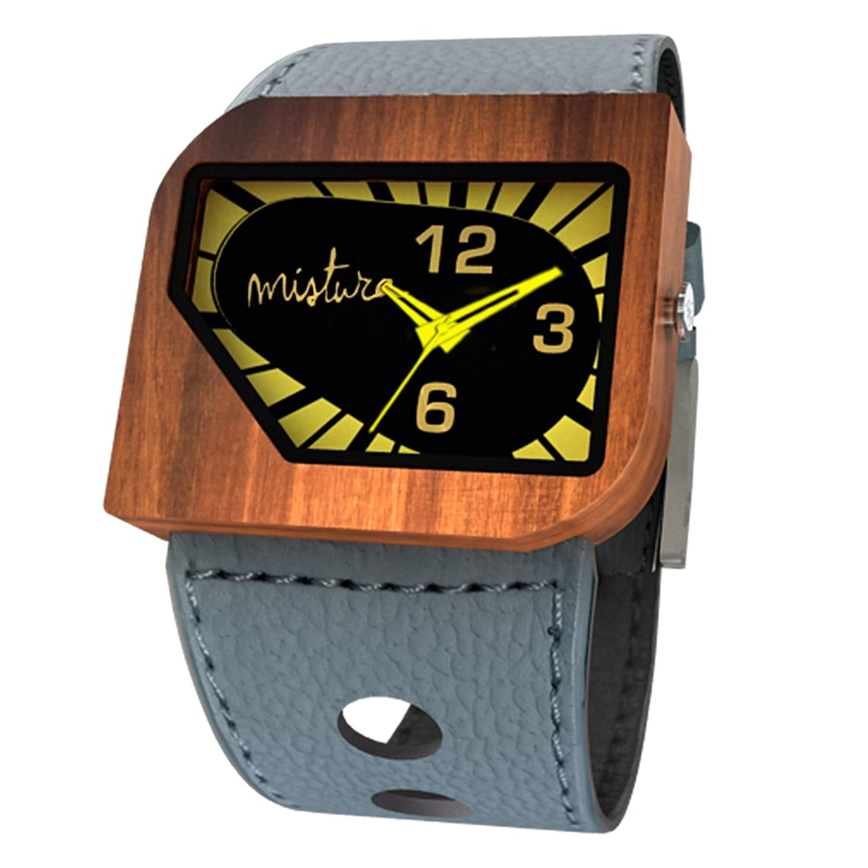 Mistura avgreyyel Avanti PUI Holz grau gelb neon Armbanduhr