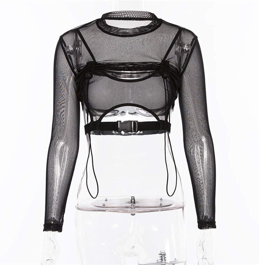 chenpaif Mujeres Gothic Punk Camiseta de Malla Transparente de Manga Larga Sexy Hebilla con cordón Patchwork Crop Top Slim Fit Fiesta de Noche Negra Streetwear S: Amazon.es: Hogar