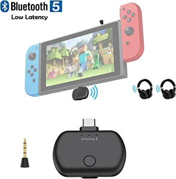 Transmisor de Audio Bluetooth 5.0 con USB C para Nintendo Switch, aptX Adaptador Bluetooth inalámbrico de Baja latencia para TV PC PS4, par con Dos Auriculares Bluetooth, Plug and Play: Amazon.es: Electrónica