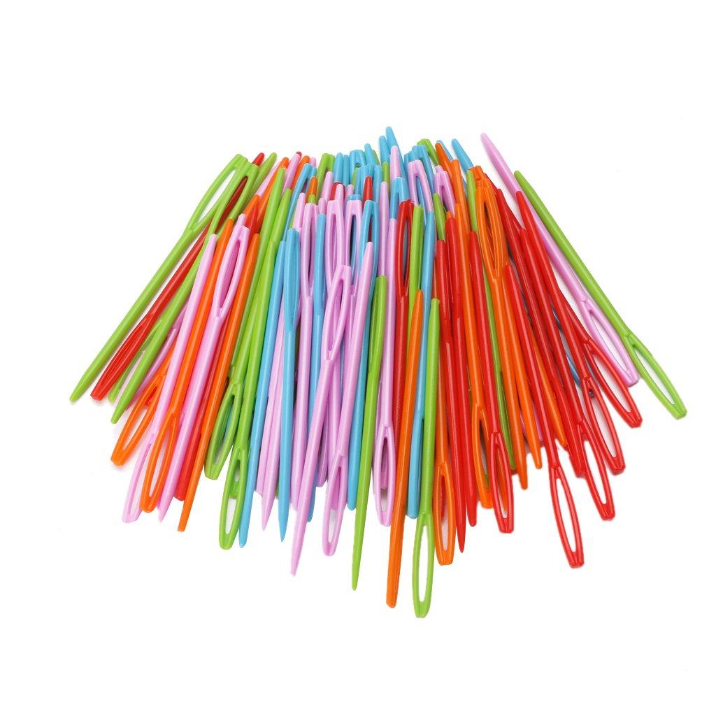 100Pcs Colorful Children Plastic 7cm Needles Tapestry DIY Sewing Wool OTGO