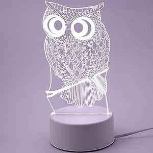 Hemore - Lámpara de Mesa con luz Nocturna 3D Creativa y luz Nocturna LED pequeña para Escritorio, para cumpleaños, Sala de Estar, Dormitorio, Bar, decoración (ovl)