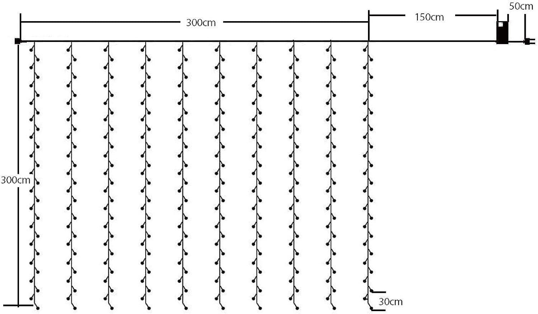 F/êtes Chambre 8 Effets dEclairage SALCAR 3 * 3 M Guirlande Lumi/ères Color/és de No/ël LED Mariage 300 LEDs Party Lumi/ère de Rideau pour Int/érieur et Ext/érieur D/écoration Blanc