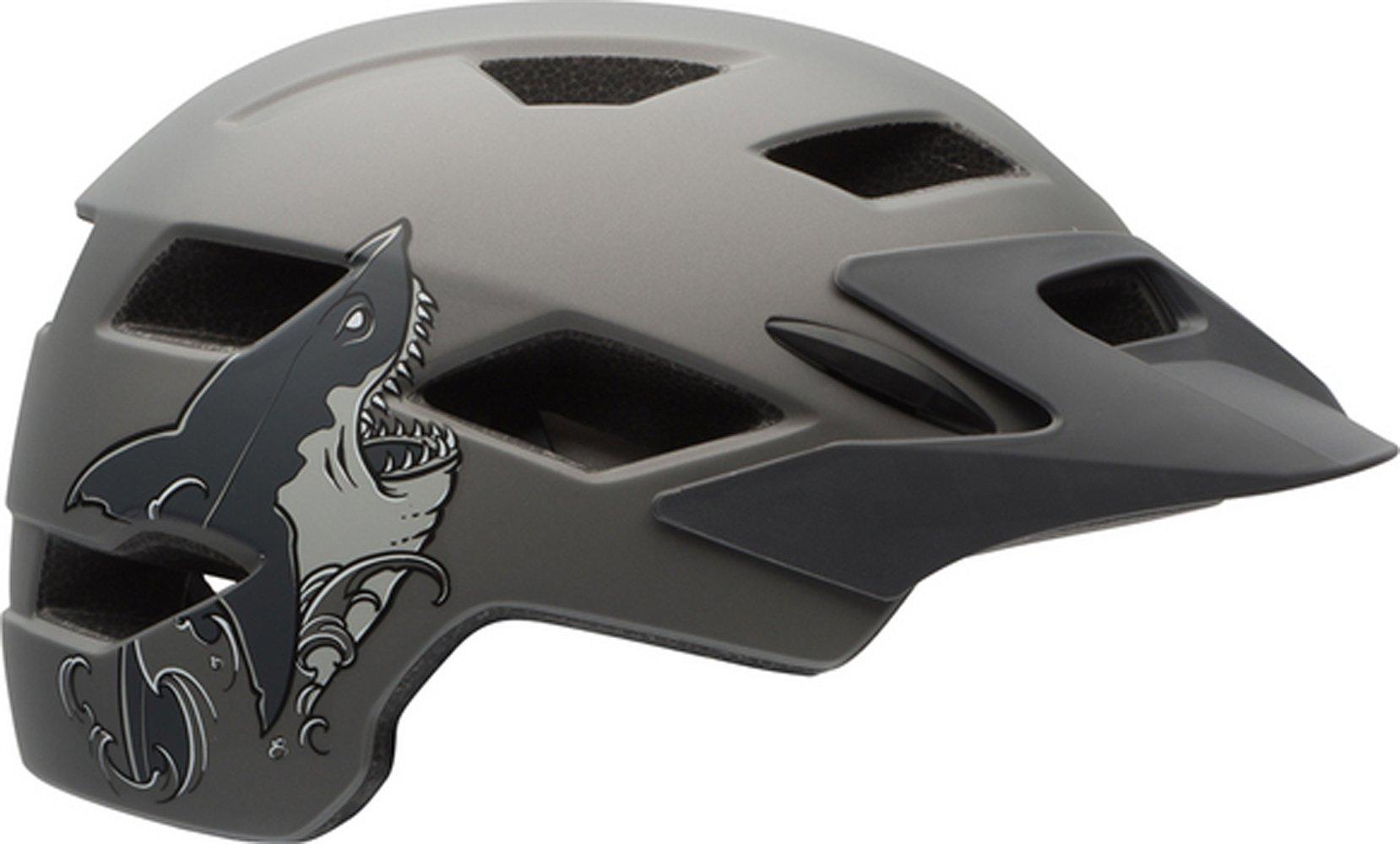Bell Sidetrack Youth Bike Helmet - Kid's Matte Titanium Shark by Bell (Image #1)