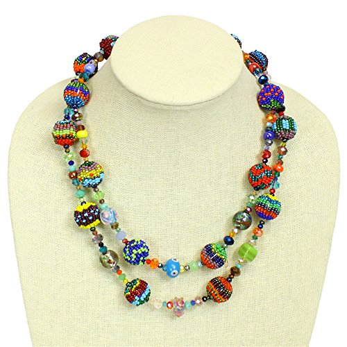 Sanyork Fair Trade NE506 Multicolored Maya Necklace Dbl Strand Design Crystal Glass Beads Fiesta Fine Art from Sanyork Fair Trade
