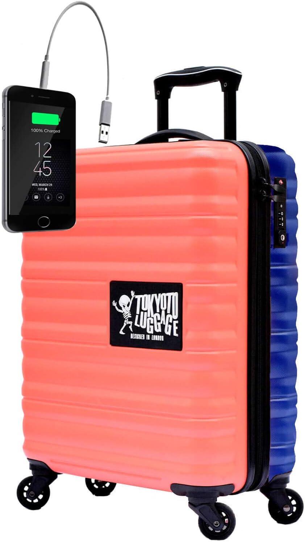 Maleta de Cabina Equipaje de Mano 55x40x20 Maleta Juvenil Trolley de Viaje Ryanair Easyjet Maleta de Viaje Rígida Coral/Blue (Preparada para Cargar Móviles) TOKYOTO Luggage (Maleta + Cargador)