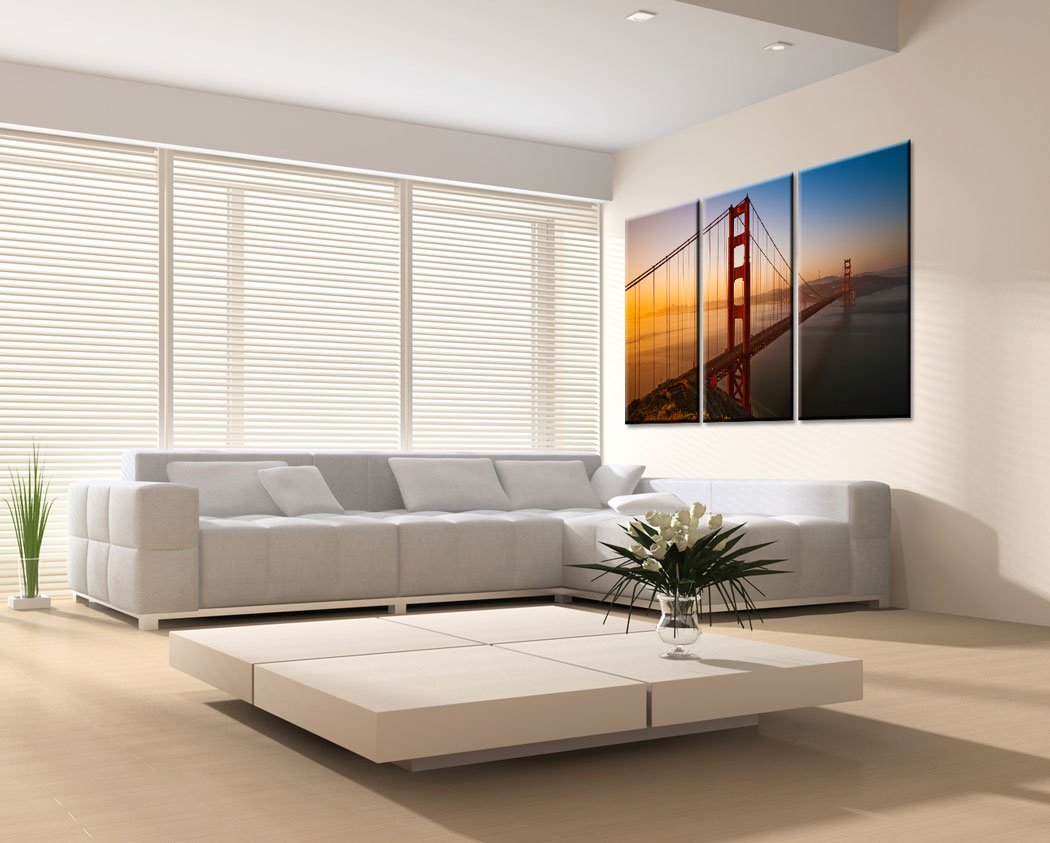 Very artistic Large Canvas Print Wall Art – Golden GATE Bridge – 48×30 in 3 pcs San Francisco Cityscape Canvas Picture Stretched On Wooden Frame – Giclee Canvas Printing – Hanging Wall Deco Picture