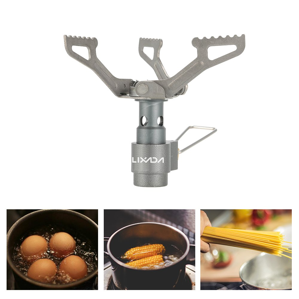 Lixada Camping Gas Stove Mini Pocket One-Piece Gas Burner Titanium Alloy 2700W//Stainless Steel 3000W Outdoor Cooking Folding Burner