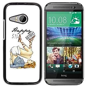 5 'th Birthday Girl Blanco Moda- Metal de aluminio y de pl¨¢stico duro Caja del tel¨¦fono - Negro - HTC ONE MINI 2 / M8 MINI