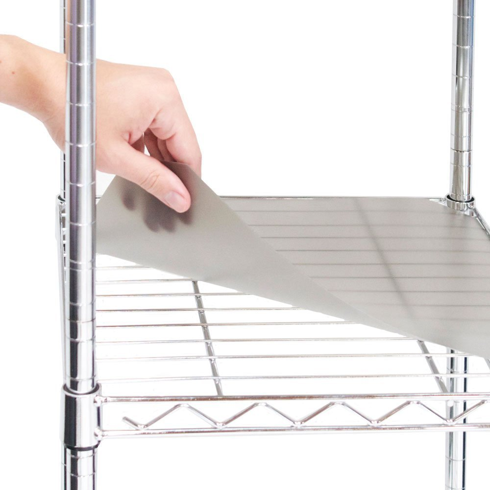 Seville Classics 2 Individual Smoke Gray Fitted Shelf Liners, Designed to Fit 14'' x 30'' Wire Shelves