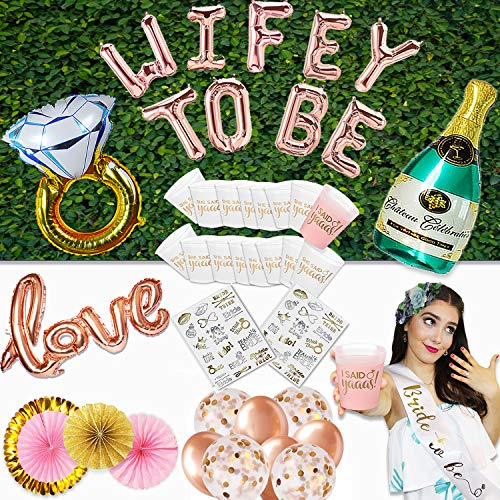 Bachelorette Party Decorations, SHE Said Yaaas Cups, Bride to BE SASH, Tattoos, Ring + Champagne and Love Balloons, Paper Fan Decoration Wifey to BE