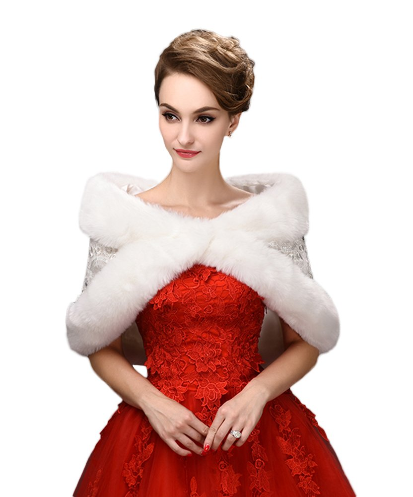 SK Studio Bridal Wraps Faux Fur Shawl Wedding Bolero Wedding Jacket Winter Wedding Coat