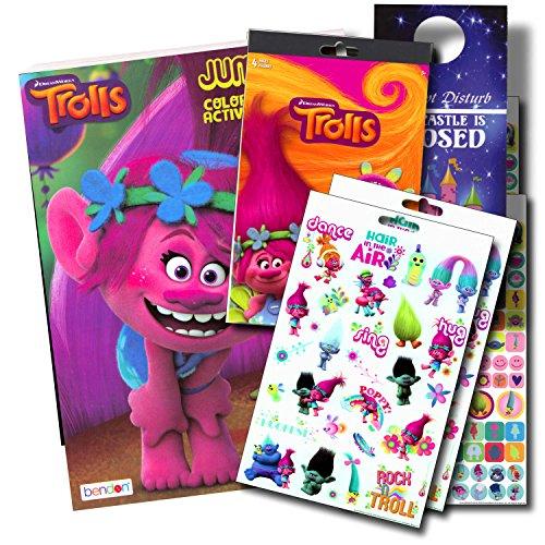 Trolls Coloring Book Set Bundle with Trolls Stickers & Castle Door Hanger ~ Poppy, Branch, Bridget, and More! (Assorted)