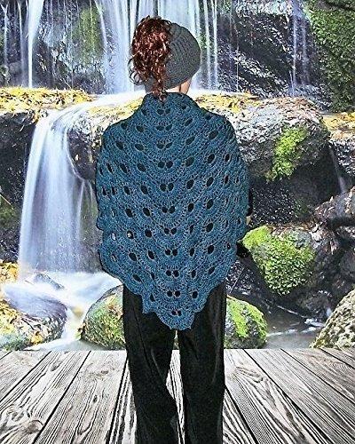 100% Merino Wool Crochet Shawl in Virus Pattern Bobby Blue ~ Ready to Ship