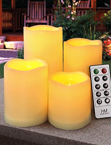 HOME MOST Set of 4 Outdoor Pillar Candles with Timer Waterproof – Battery Operated LED Pillar Candles with Remote 3×3 3×4 3×5 3×6 – Plastic Flickering Flameless Pillar Candles Unscented for Outside
