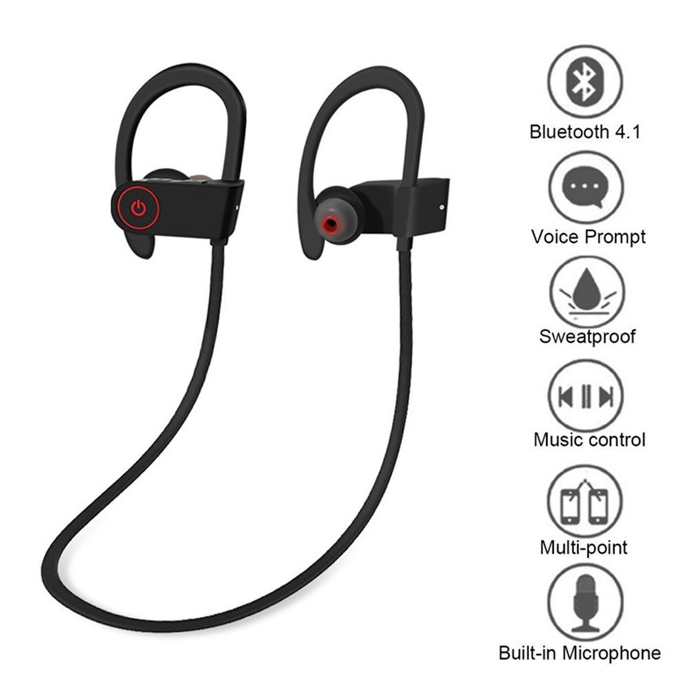 KingTo Bluetooth Headphones Sweatproof Earbuds for Workout 8 Hour Battery Noise Cancelling CVC 6.0 Headsets Heavy Bass Headset with mic