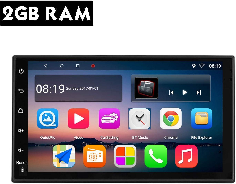 KKXXX S10 Plus Android 9.0 Autoradio 2GB RAM 32GB 2 DIN Navegación GPS Am FM RDS Quad Core 7 Pulgadas Pantalla Tactil Capacitiva Control del Volante Entrada de Cámara de Visión Trasera
