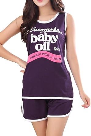 c8d49f2798d0 Lasher Women s Cute Panda Sleeveless Pjs Sleepwear Set Cartoon Shorts  Pajamas (US Small