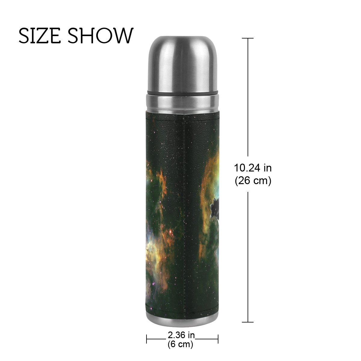 QQMARKET Galaxy Cat Double Wall Vacuum Cup Insulated Stainless Steel PU Leather Travel Mug Bottle, Animal In Space Christmas Birthday Gifts for Mom Dad Boys Girls Kids Lover Friends by QQMARKET (Image #2)