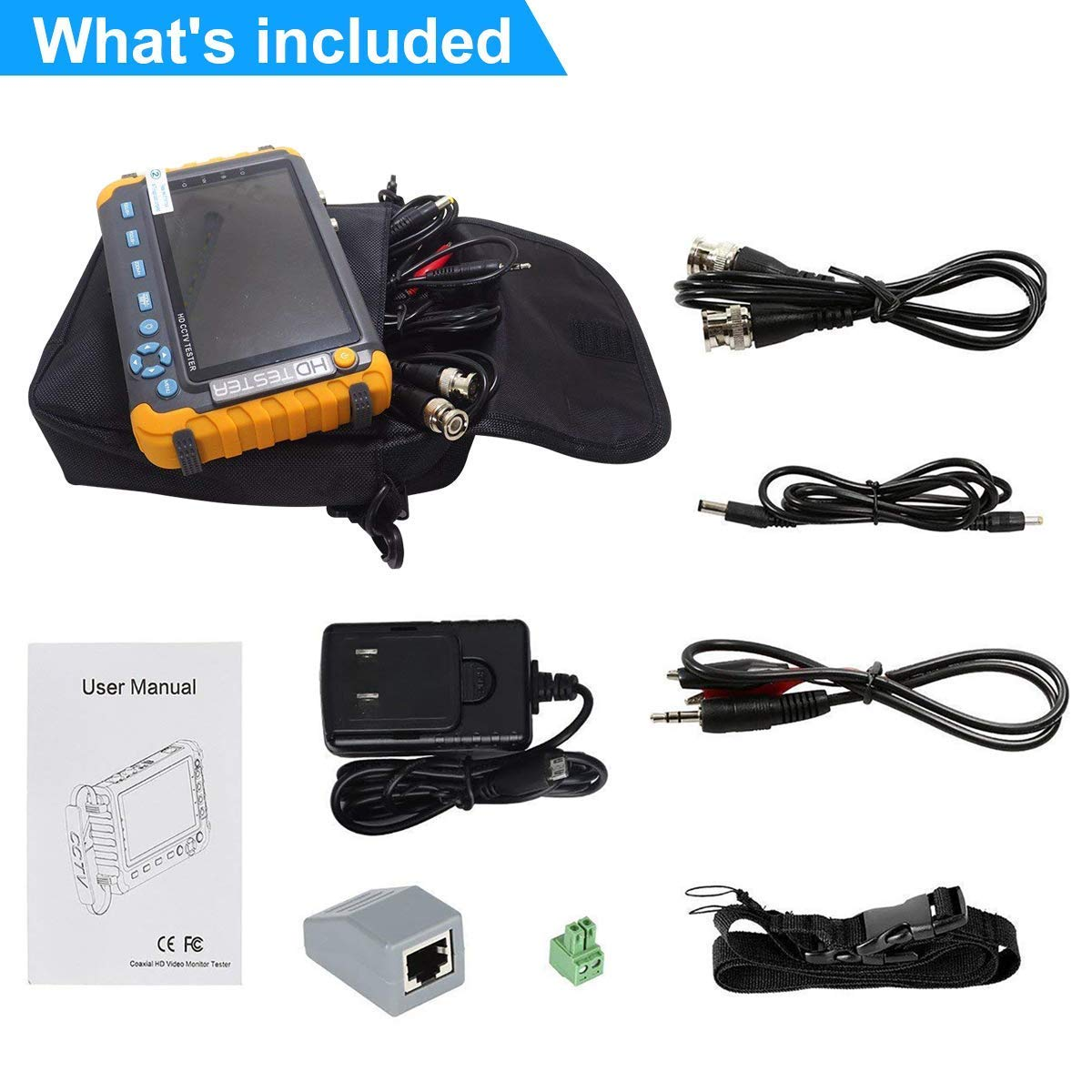 5.0MP 4 en 1 CCTV Tester, AHD/TVI/CVI Coaxial HD Video Monitor Tester, Analog Video/UTP Cable Test VGA/HDMI Entrada DC12V Salida Probador de la cámara: ...