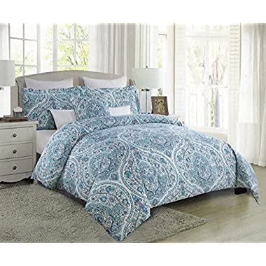 Tahari Home Turquoise Nolan Paisley Medallions 3pc Full Queen Duvet Cover Set Moroccan Medallion Turquoise Aqua Green Teal Grey Blue Bothe Style Bohemian 300TC (Queen)