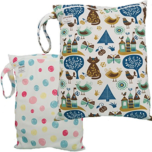 2 Waterproof Zipper Wet/Dry Bags., Snap Handle (Circles & Cats) (Wet Bag Zipper Large compare prices)