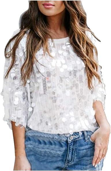 Hanomes Camisetas Casual Mujer de Moda Blusas Tops de Mujer Elegantes Pullover Cuello Redondo Fiesta Lentejuelas Costura Manga Corta de Manga Media Blanca Brillos Ropa Blusa: Amazon.es: Ropa y accesorios