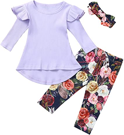 Christmas Newborn Baby Girls 3PCS Romper Jumpsuit Top Pants Party Outfit Clothes