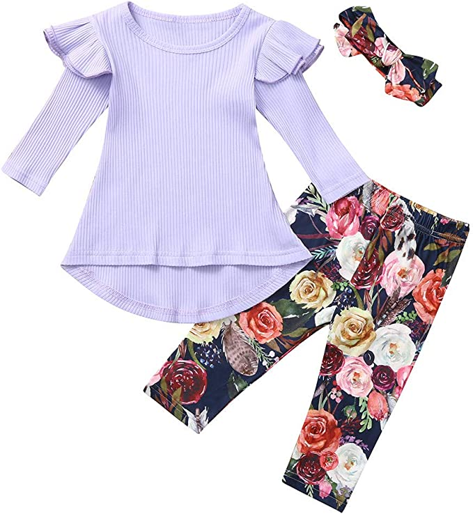 New 3pcs Toddler Infant Baby Girls Floral Clothes Set Tops+Pants+Headband Outfits Fashion Outdoor