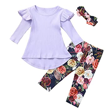 3pcs Toddler Kids Baby Girls Clothes Tank Tops Floral Pants Headband Outfits Set