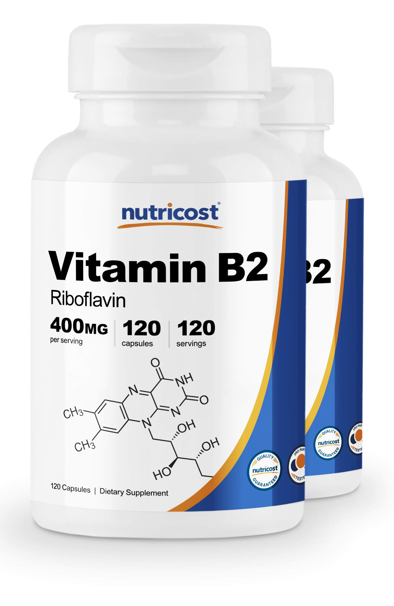 Nutricost Vitamin B2 (Riboflavin) 400mg, 120 Capsules (2 Bottles) by Nutricost