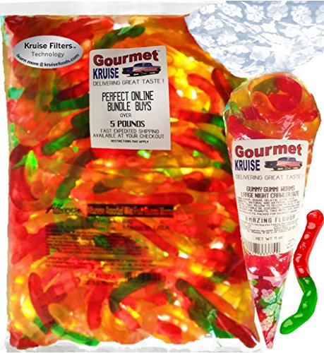 (Gummi Gummy Worms Fruit Flavor Albanese - Bulk Candy 5Lb Bag With Large Night Crawler Size Worms Gourmet Kruise Signature Gift Bag 11 OZ (NET WT 5 LBS.11OZ) 2 Item)