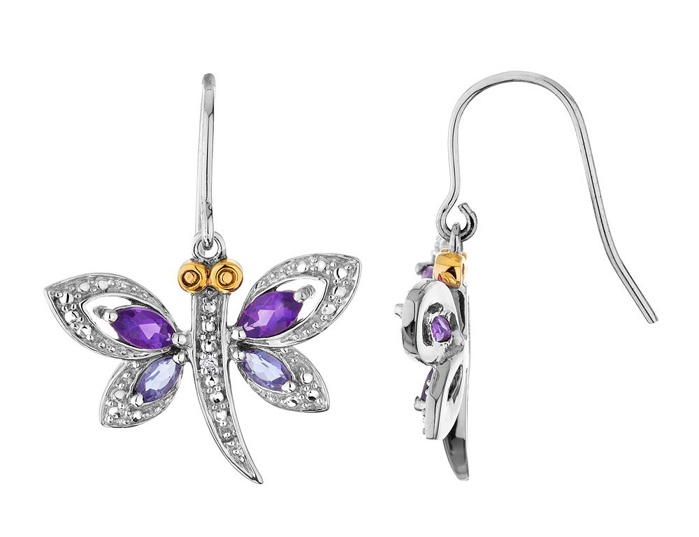 Amethyst and Iolite Dragonfly Earrings with Diamonds 9/10 Carat (ctw) in Sterling Silver