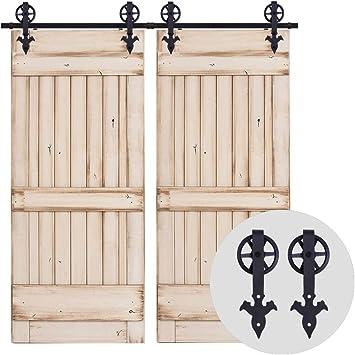 228CM/7.5FT Herraje para Puerta Corredera Kit de Accesorios para Puertas Correderas Juego de Piezas,para puerta doble,negro: Amazon.es: Bricolaje y herramientas