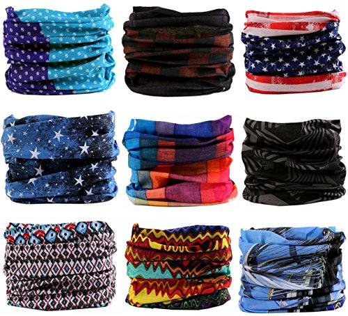 KINGREE 9PCS Headwear, Womens and Mens Headband, Guys Sweatband & Sports Head Tie for ATV/UTV riding, Outdoor Magic Scarf, Bandanna Headwrap, (Freedom) - Guys Accessories