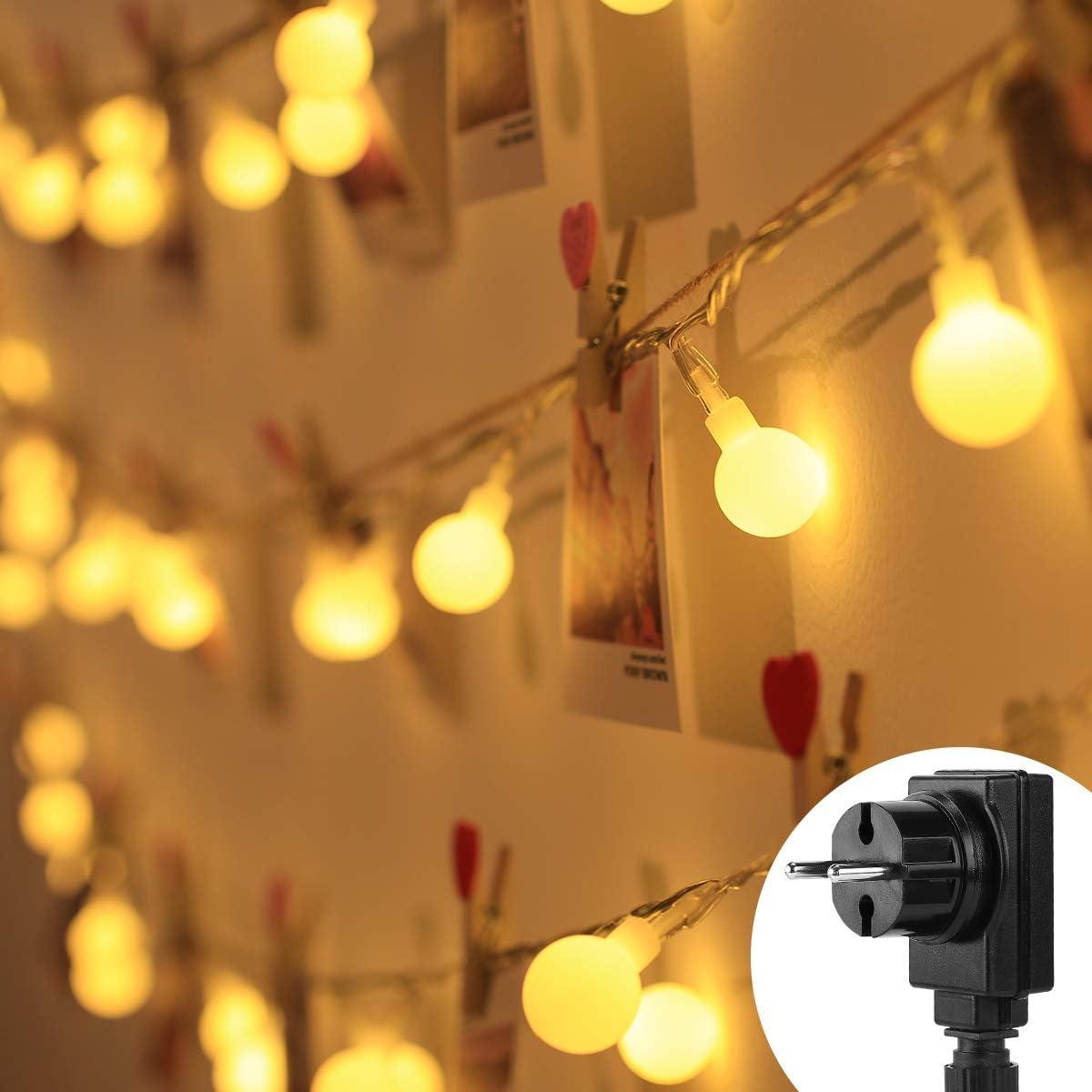 LE Cadena de Luces con Enchufe 10m 100 LED Blanco Cálido 3000K Guirnalda de Luces Impermeable 8 Modos Luz Guirnaldas Luminosas Decorativas para Exterior y Interior, Jardines, Boda, Arbol de Navidad