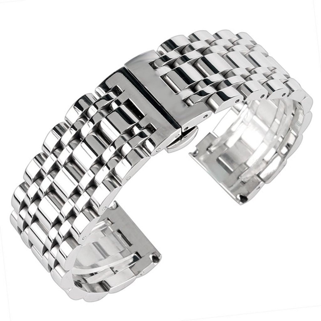 22mm Solid Stainless Steel Watch Band Silver 316L Push Button Hidden Bracelet Watch Strap for Mens Womens 2.2cm