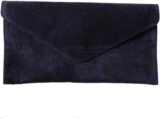 Women's Navy Suede Envelope Clutch Bag