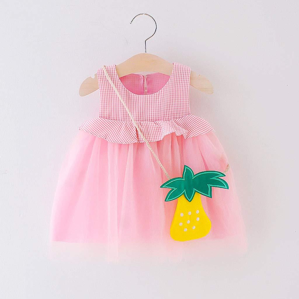 b25420f99 Amazon.com: Baby Girls' Tutu Dress Summer Plaid Pineapple Sundress for 0-24  Months Todder Kid Newborn Baby Girl Dresses Sleeveless Skirt: Clothing
