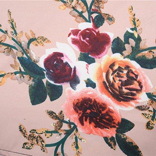 Rosado Vestido Pin De Collar Mangas Lazo de Trapecio Round Rockabilly con Vestido Rose Verano up Sin Floral Lenfesh pTdqq