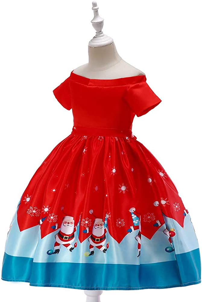 Lurryly❤Christmas Baby Girls Long Sleeve Dresses Princess Dress Kids Outfits Clothing 1-7T