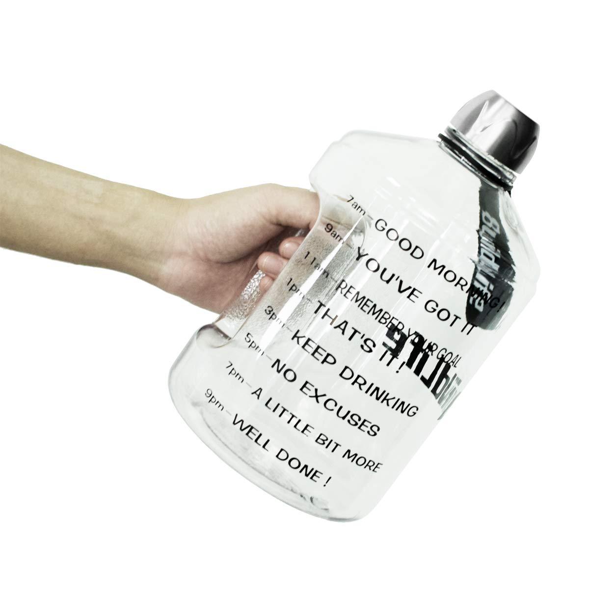 etc. Culturismo Oficina Senderismo Ideal para Gimnasio BuildLife Botella de Agua Deportiva con Marcas de Tiempo Deportes al Aire Libre Culturismo